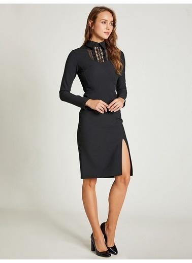 Vekem-Limited Edition Gömlek Yaka Uzun Kollu Midi Elbise Siyah